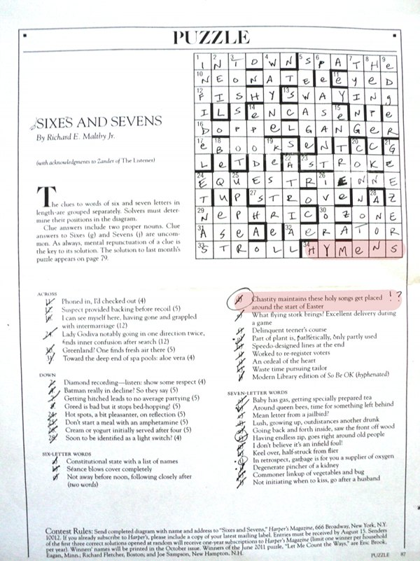 Sixes and Sevens - July 2011 | Tacky Harper's Cryptic Clues