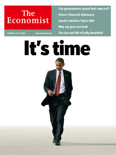 It's Time: Obama on the cover of The Economist