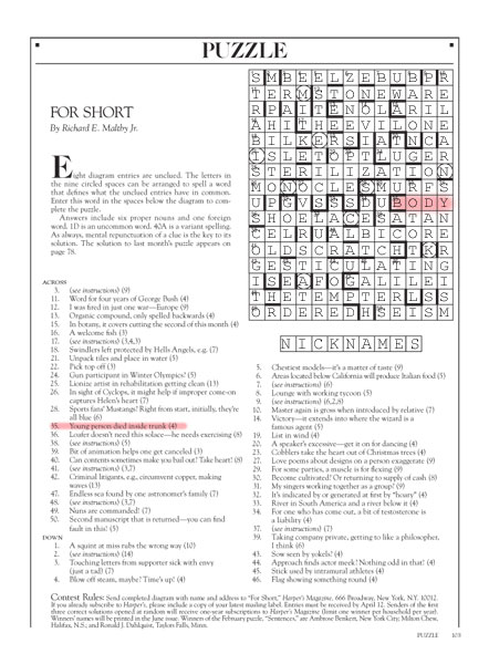 Tacky Harpers Cryptic Clues | April 2013