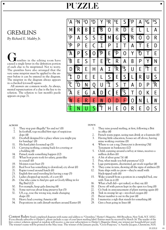March 2014 | Harper's Cryptic puzzle solution