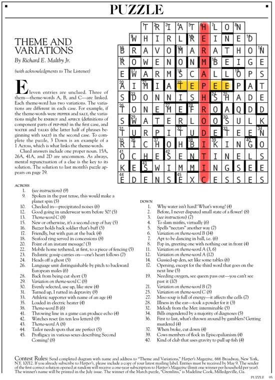 May 2014 | Harper's Cryptic puzzle solution