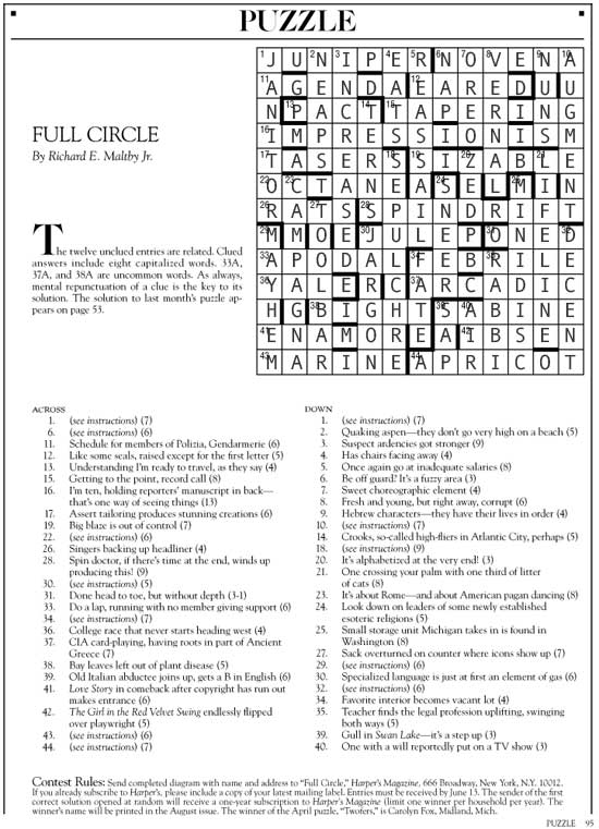 June 2014 | Harper's Cryptic puzzle solution