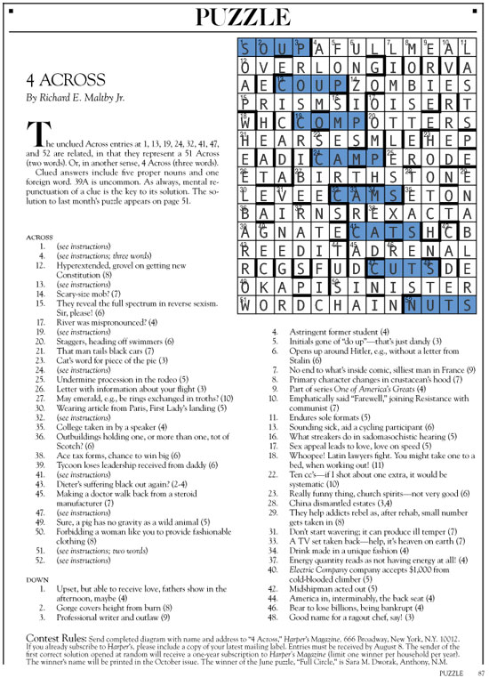 August 2014 | Harper's Cryptic puzzle solution