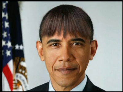 Barack Obama with bangs | Tacky Harper's Cryptic Clues
