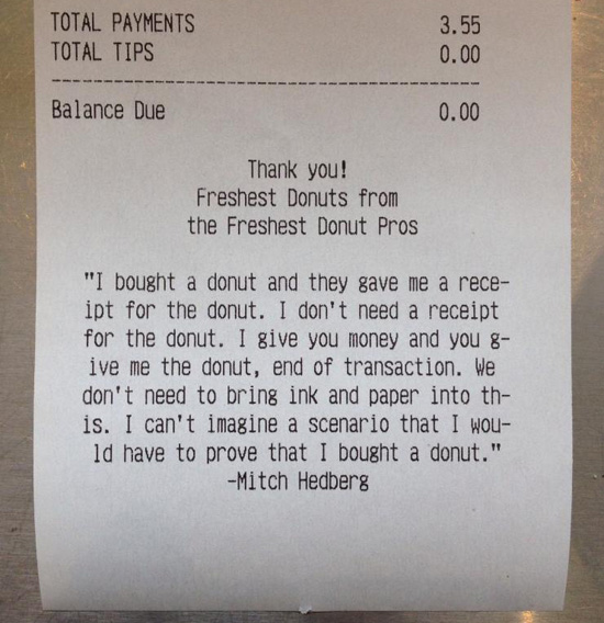 Mitch Hedberg | receipt | donut joke | Tacky Harper's Cryptic Clues