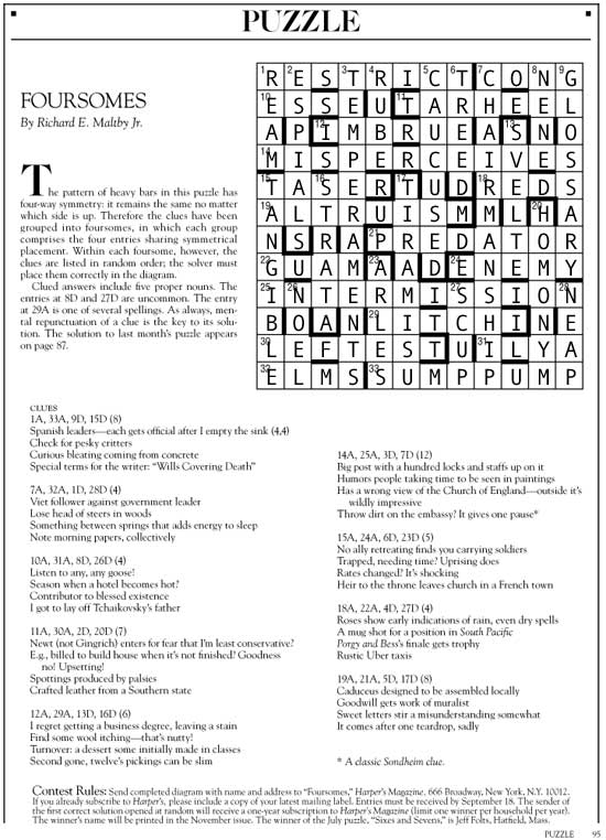 September 2015 | Foursomes | Harper's Cryptic puzzle solution