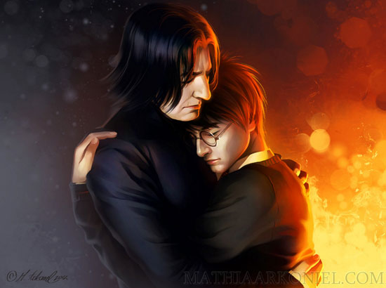 Harry Potter and Snape hug | Tacky Harper's Cryptic Clues